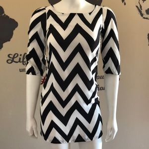 Chevron pattern mini dress